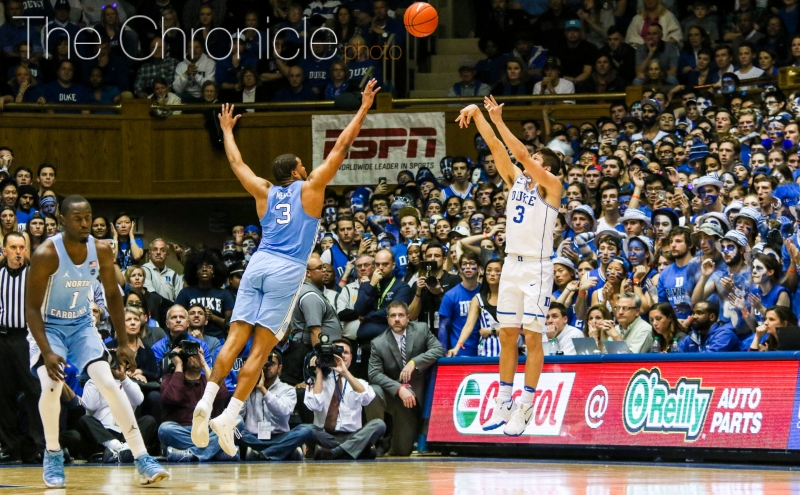 Grayson Allen matched a career high with seven 3-pointers on his way to his highest scoring output of ACC play Thursday.