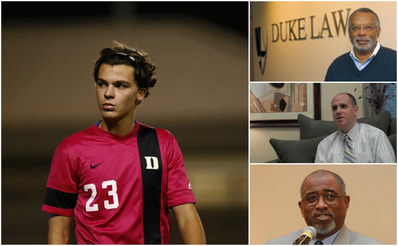 Sophomore men's soccer player Ciaran McKenna (left) is suing Duke andDean of Student Conduct Stephen Bryan (middle right) for mishandling his sexualassault hearings. Judge Orlando Hudson (bottom right)presided over the hearings in the case,during which McKenna's faculty advisory James Coleman (top right) testified.