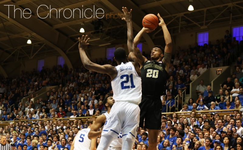 Wake Forest big man John Collins torched the Blue Devils for 31 points on 13-of-18 shooting and 15 rebounds, sparking a late 9-2 run that kept the Demon Deacons close.