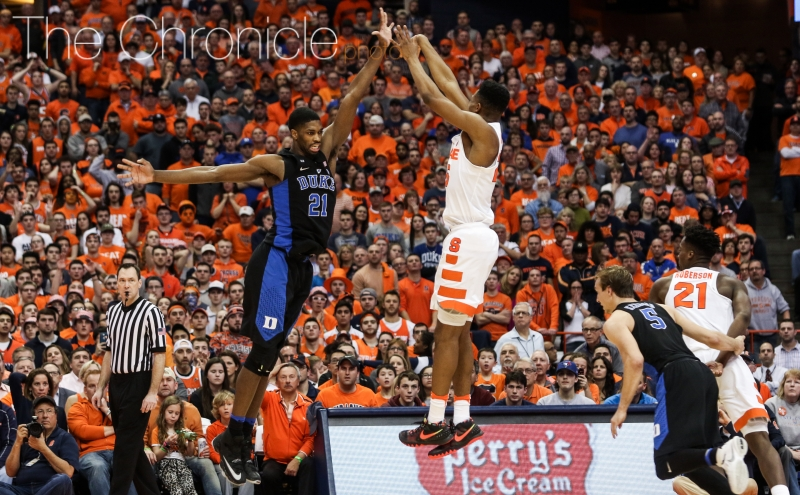 Graduate student Amile Jefferson and company allowed 53 second-half points in Wednesday's loss at Syracuse.
