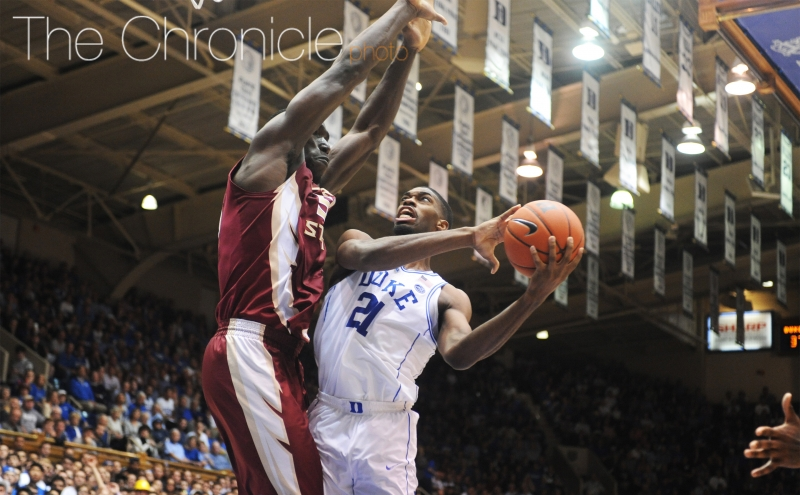 Graduate student Amile Jefferson posted a monstrous double-double in his final game at Cameron Indoor Stadium.