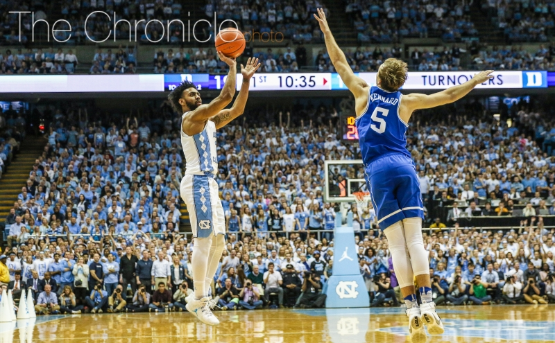 Joel Berry II made two key shots late to extend the North Carolina lead to six and made five first-half 3-pointers on his way to a dominant 28-point outing.