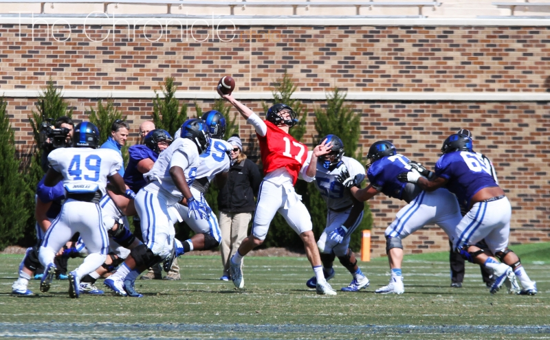 Redshirt freshman Daniel Jones and the Blue Devil quarterbacks worked on getting the ball deeper downfield Saturday.