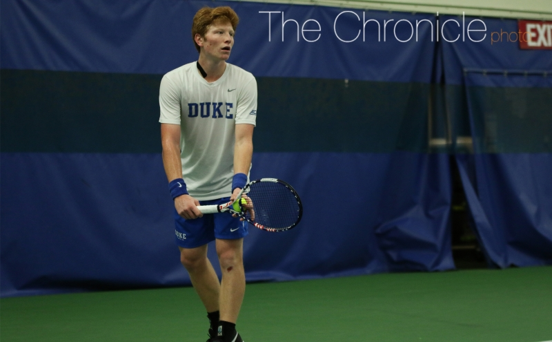 Sophomore Ryan Dickerson fought hard like many of his teammates in a tight singles match but could not pull out a victory in the Blue Devils' first ACC loss.