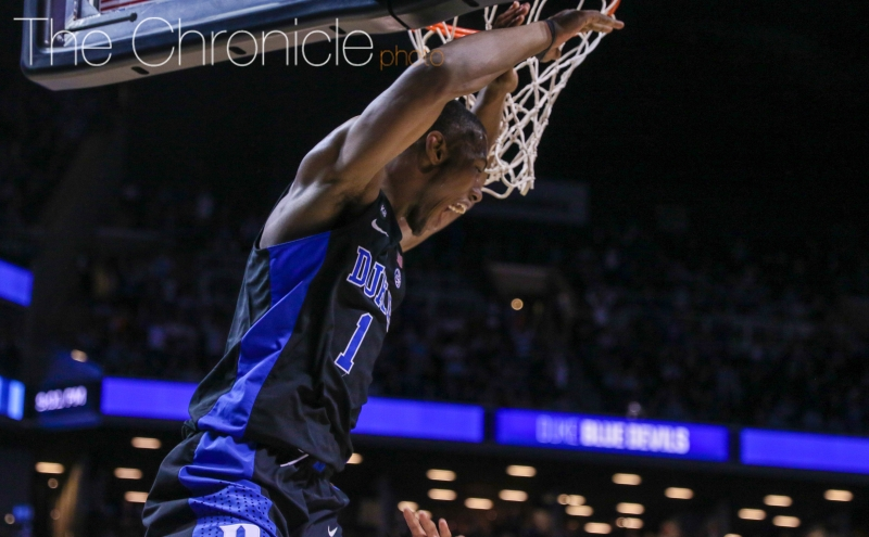 Harry Giles' alley-oop dunk with about 5:30 remaining capped a 7-0 run and was the biggest play of his career—he set it up with one of his four blocks.