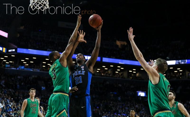 Graduate student Amile Jefferson made six of his first seven shots, including back-to-back hoops to pull his team within four with 9:46 remaining.