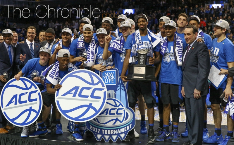 The Blue Devils won their first ACC tournament championship since 2011 Saturday night, becoming the first team ever to win four games in four days.