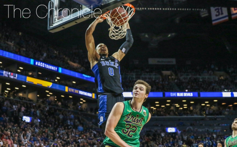 Jayson Tatum scored or assisted on 11 of the Blue Devils' final 12 points to close out Notre Dame and wrap up an exceptional ACC tournament.
