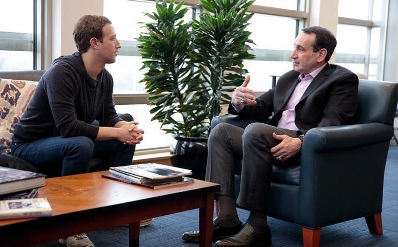 Facebook founder and CEO Mark Zuckerberg visited Duke to talk with men's basketball head coach MikeKrzyzewski.