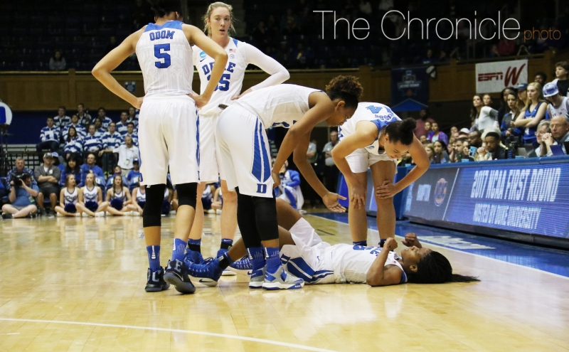 Sophomore Kyra Lambert went down with a knee injury in the second quarter and did not return.