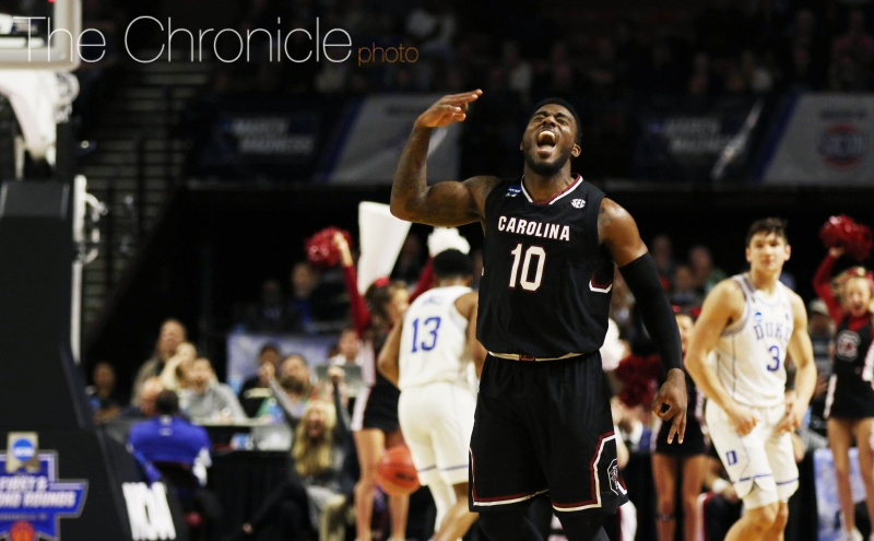 South Carolina guard Duane Notice had 17 points, including two crucial 3-pointers for a team that normally struggles to score.
