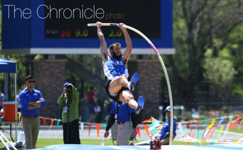 Connor Hall and the Blue Devils posted several top-10 finishes in their first outdoor meet of 2017.