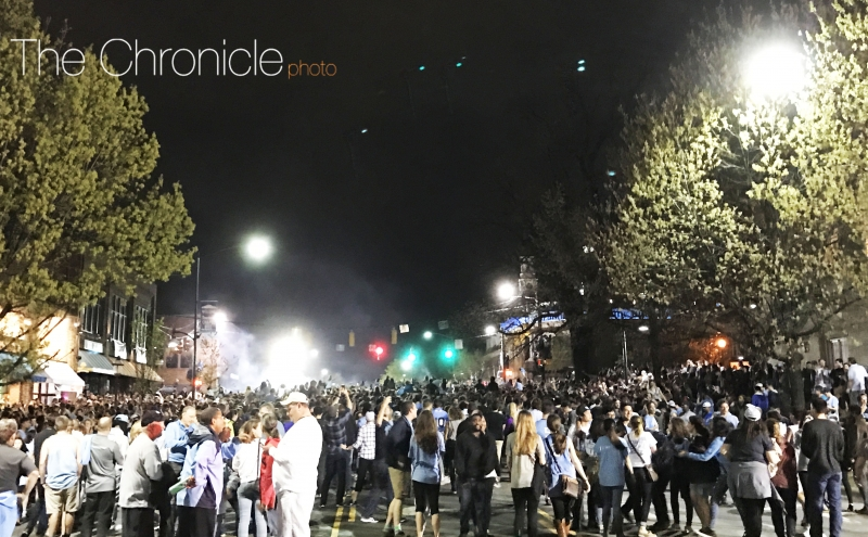 Thousands of North Carolina students flooded Franklin Street after Monday's national title game.