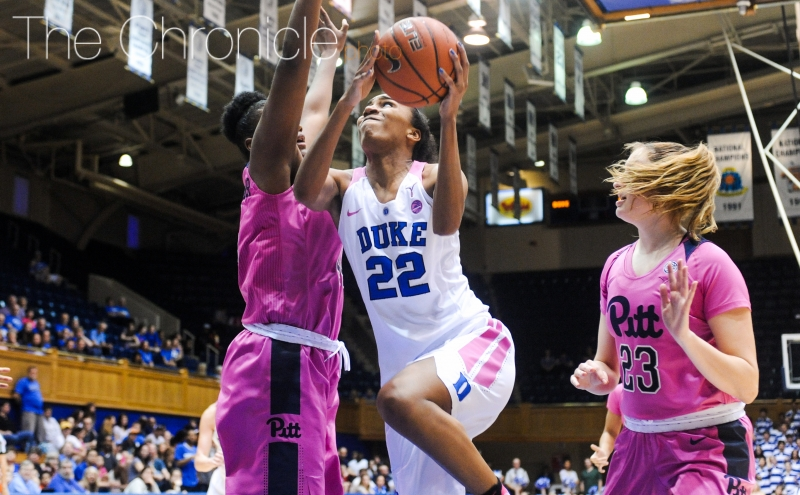 Oderah Chidom averaged at least eight points and five rebounds per game in each of her last three seasons at Duke.