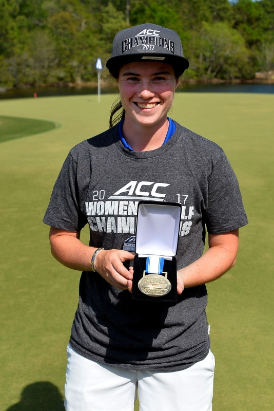 Junior Leona Maguire won her second individual conference title by dominating on par-5s all weekend.