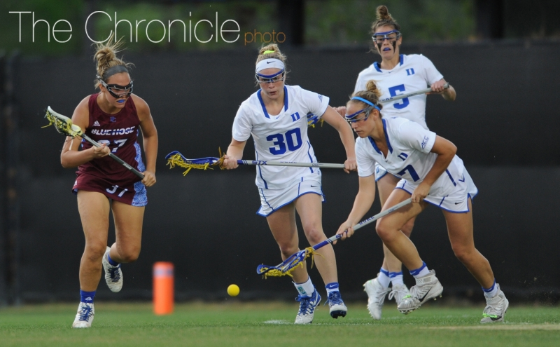 Freshman Catherine Cordrey (right) is second on the team with 28 goals and will need to have a big day Saturday.