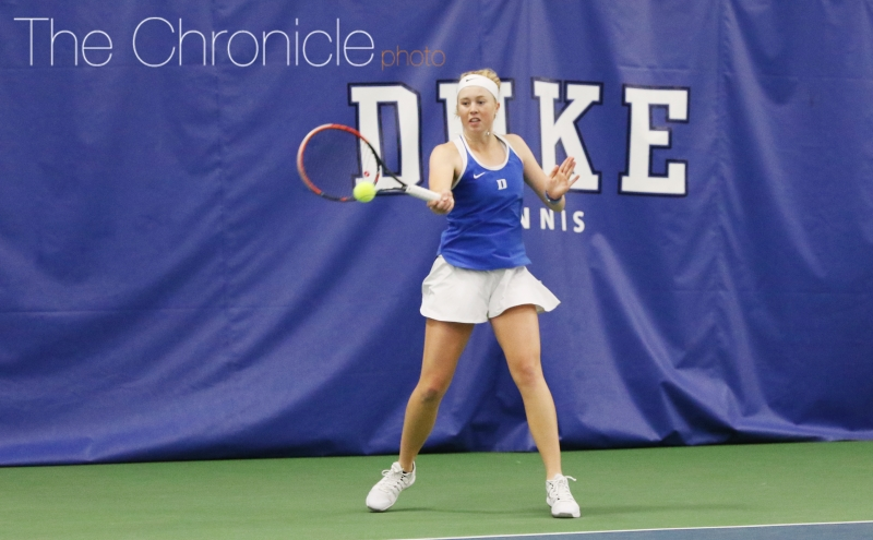Kaitlyn McCarthy has not lost in singles in nearly three months, but she was one of just two Duke players to win Saturday.