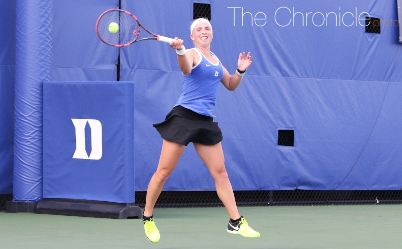 Sophomore Ellyse Hamlin won on Court 5 Saturday for her eighth victory in her last 10 matches.