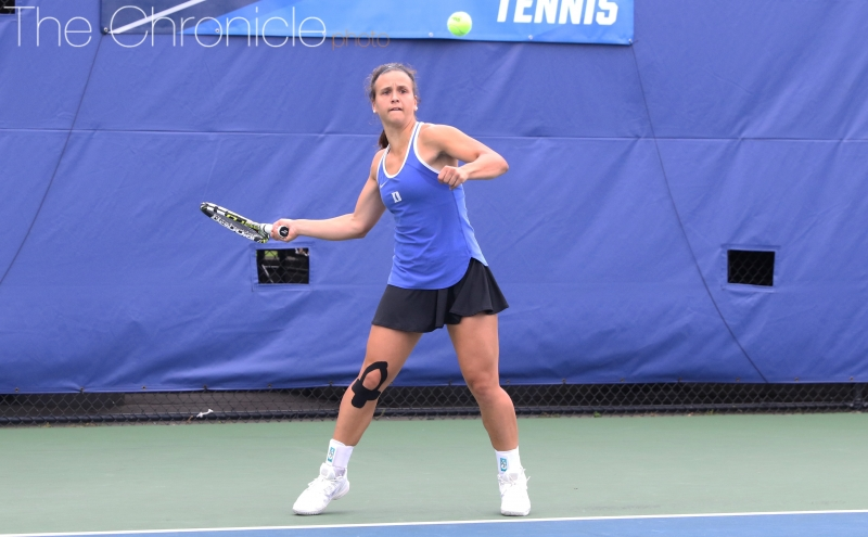No. 80Samantha Harris played singles after sitting out the second round with an injured back but won just three games against No. 2 Hayley Carter.
