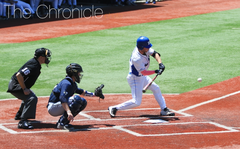 Leadoff man Jimmy Herron reached base four times, scoring a run and driving in another in Duke's ACC tournament opener.