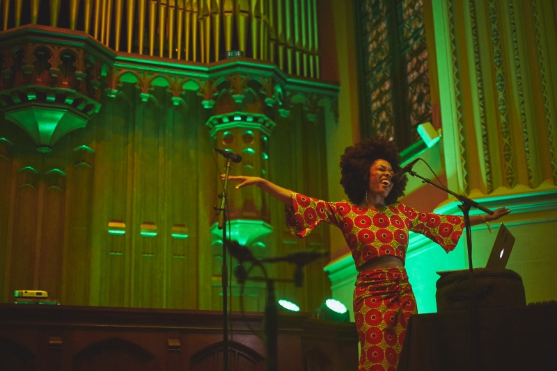 Moogfest boasted talented artists like Sudan Archives, pictured at Durham's First Presbyterian Church, but its message of protest often contradicted itself.
