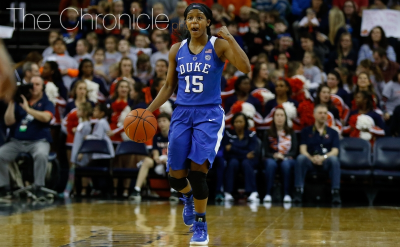 Kyra Lambert often sits down with recruits for a meal to sell them on Duke and help evaluate their fit with the team.