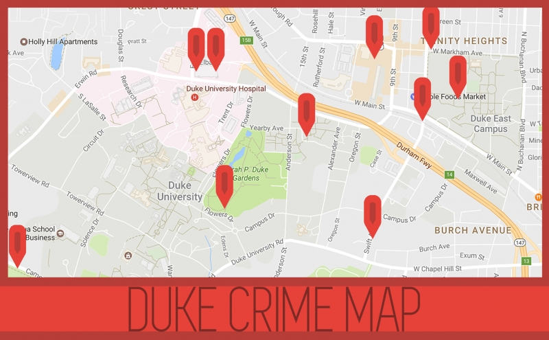 Several of the incidents that resulted in DukeALERTs occurred near East and Central Campus.