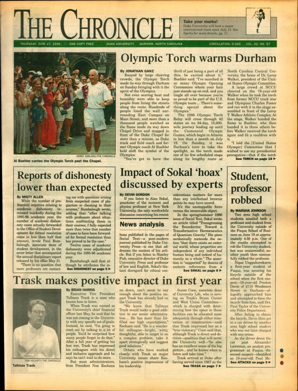 This week in Duke history: Olympic torch travels to Durham