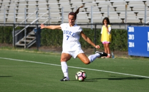 Junior Taylor Racioppi scored one of Duke's goals and drew a foul in the penalty area that led to its other goal in an exhibition victory against Clemson.