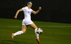 Junior Taylor Racioppi scored a spectacular goal on a volley in the box, but Duke could not hold onto the lead.