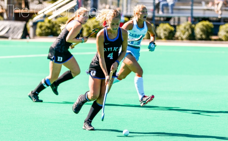 Senior Ashley Kristen scored the lone goal early in Duke's scrimmage against North Carolina on a rebound in front of the net.