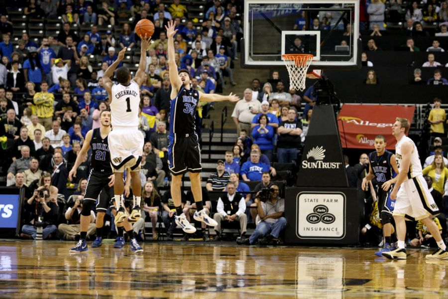 Ryan Kelly contests the shot of Wake Forest's Tony Chennault, but his more notable contribution came on the offensive end, where he set a career high with 23 points.