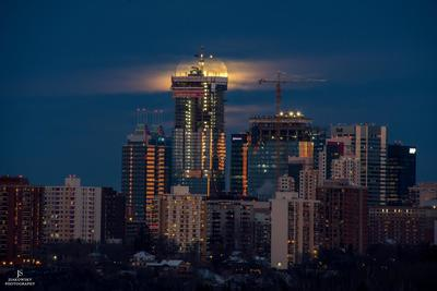 Full Moon Over Downtown Edmonton