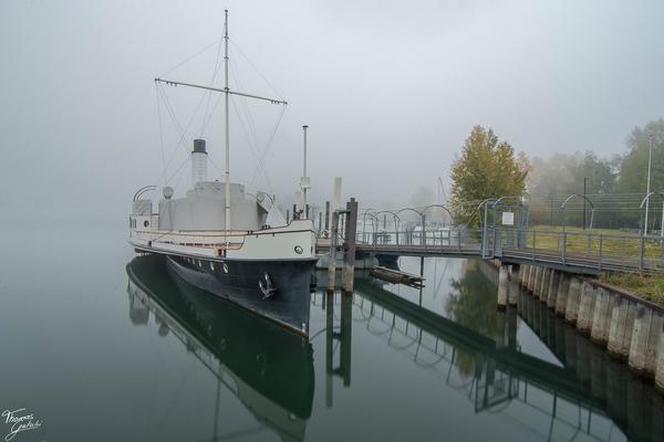 Dampfschiff Hohentwil in der Winte