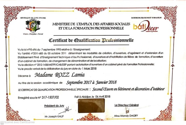 Certificat décoration 2017/2018