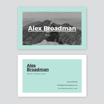 Aqua Grey and White Contrast Travel Consultant Business Card