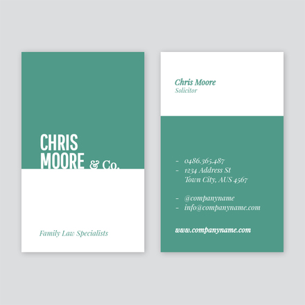 Green and white split color business card accmission