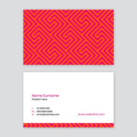 Hot Pink & Orange Patterned Business Card