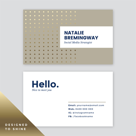 Dotted Pattern Gold Foil Business Card Template