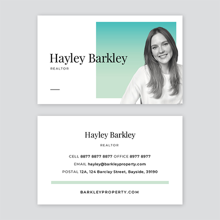 Gradient Background with Profile Image Business Card Template