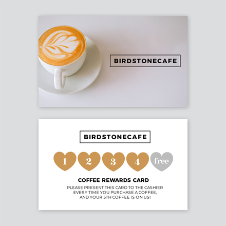 Cafe Loyalty Cards 5 Heart Shaped Stamp Template