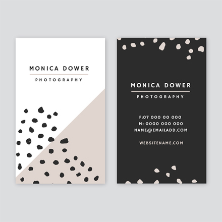 Photographer Business Card with hand drawn dot pattern