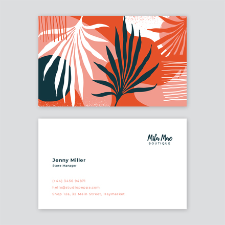Organic Leaves Pattern Business Card