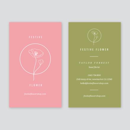 Color Block Linear Illustration Flower Shop