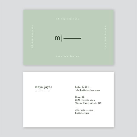 Mint Interior Design Business Card