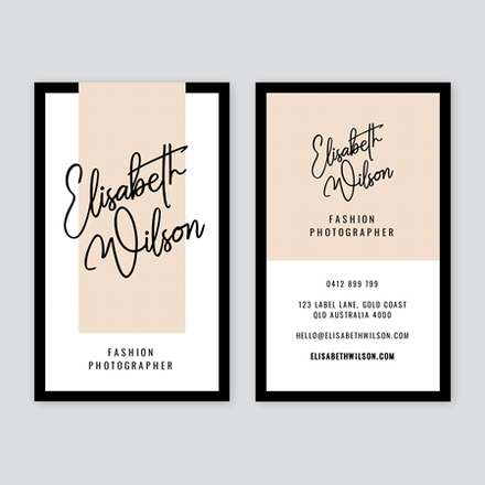 Beige Black and White Fashion Photographer Business Card
