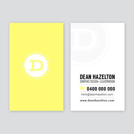 Yellow Monogram Business Card