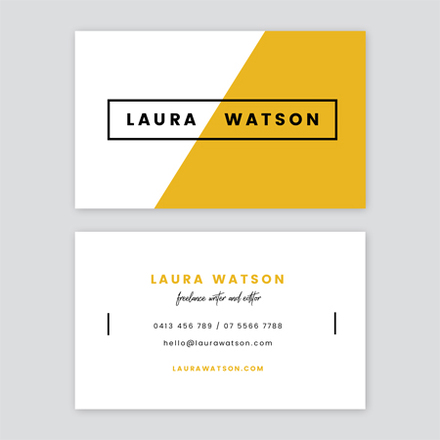 Mustard Black and White Simple Linear Writer Business Card