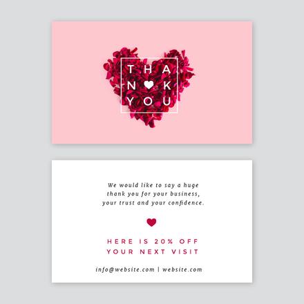 Petal Heart  Thank you Card