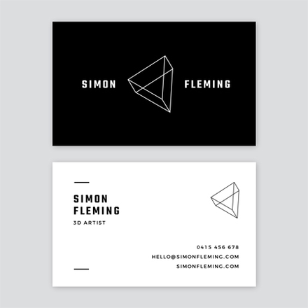 Minimal Clean Lines Black and White Business Card